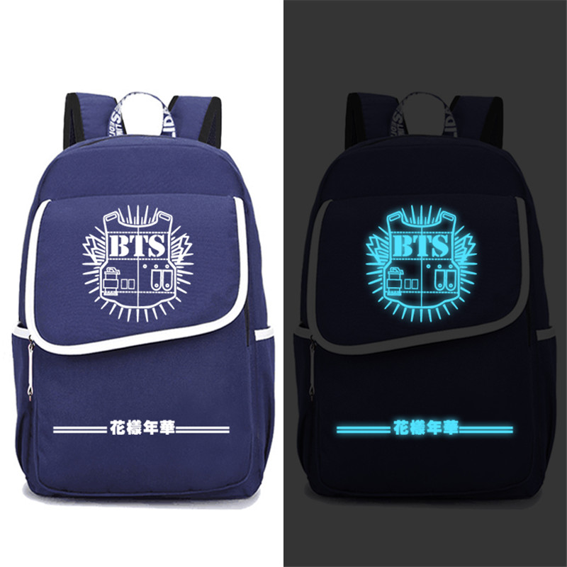 High Quality 2017 New BTS Bangtan Boys Luminous Printing Backpack Mochila Feminina Canvas School Bags Laptop Backpack Rugzak