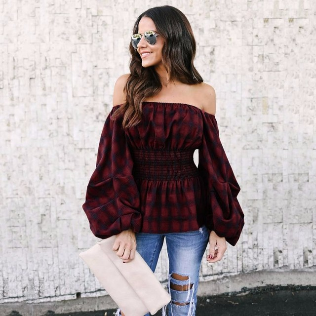 Beautiful Feitong Off Shouder Plaid Shirt Lantern Long sleeve Peplum Blouse  KB72