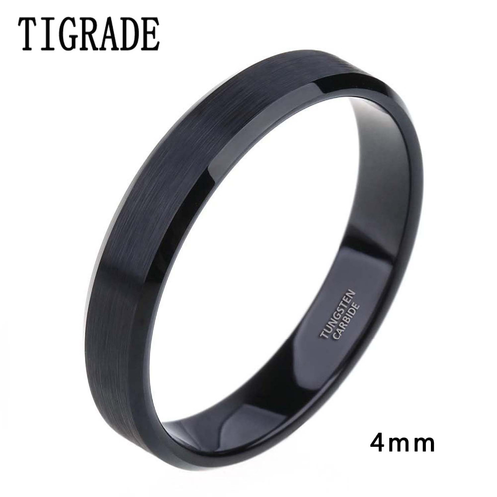 4mm 6mm 8mm Black Tungsten Cardide Ring Men High Polished Edges Wedding Band Engagement Rings For