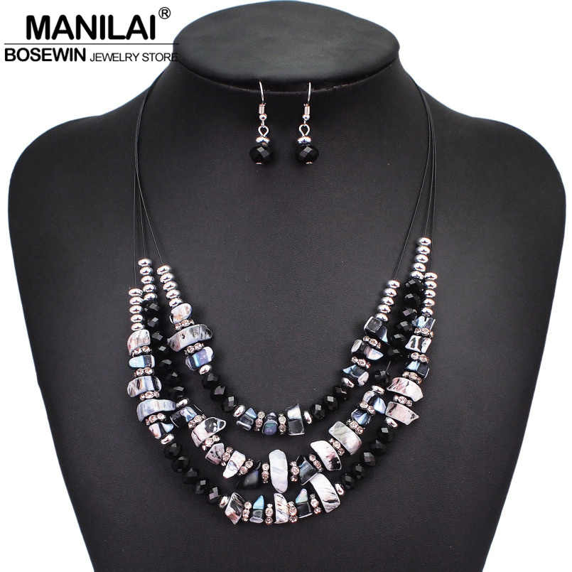 MANILAI Bohemian Beads Statement Necklaces Sets Fashion Multilayer Collar Necklace Earrings For Women Ethnic Jewelry