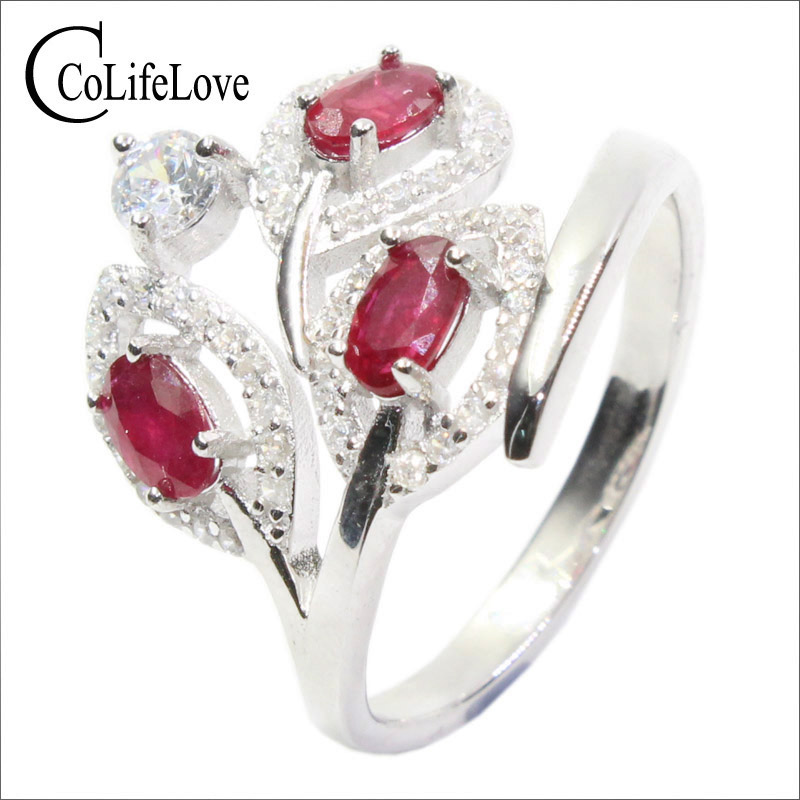 Promotion Leaf Shape Natural Ruby Ring Stamped 925 Silver 3 Ps 3*5mm Burma Ruby Silver Jewelry Brithday Stone Ring For July Gift