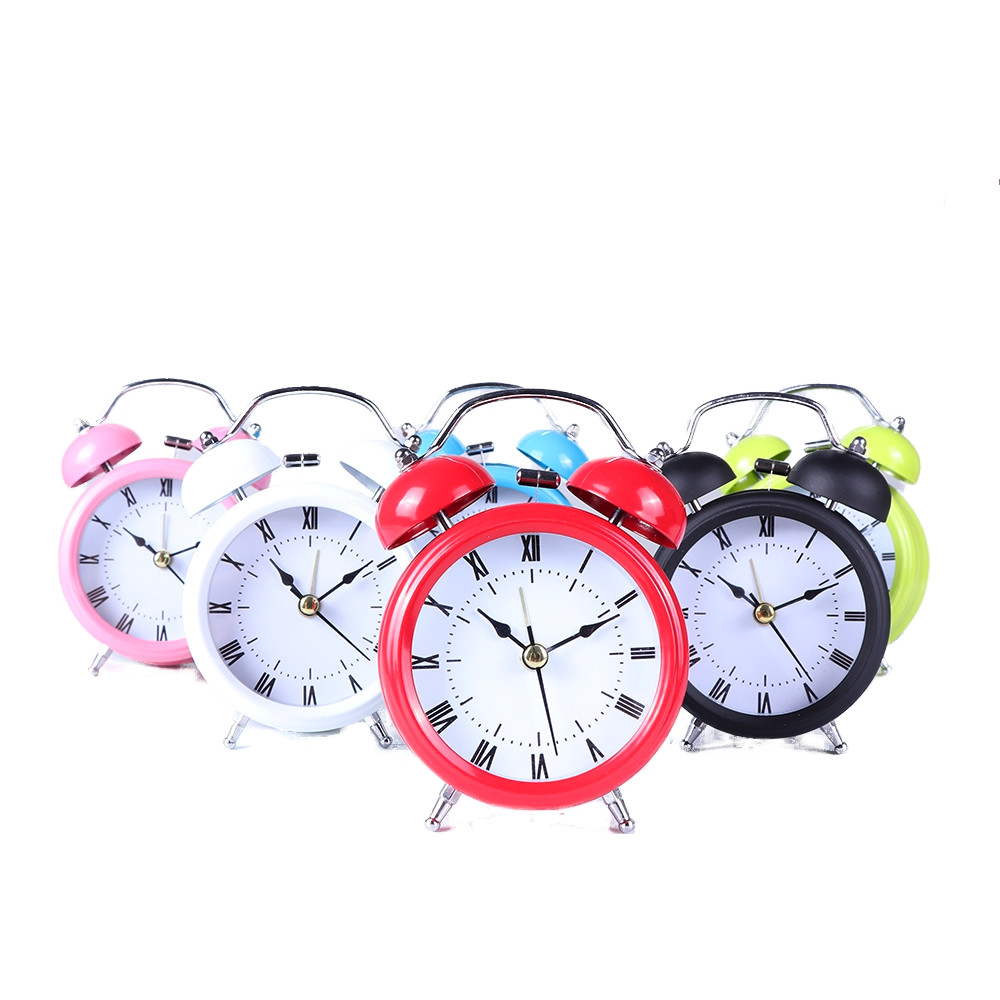 6 Colors Classic Simple Metal Shell Two-Way Bell Alarm Clock Home Decoration Silence Clock F111