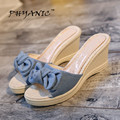 PHYANIC 2017 Summer Fashion Thick Bottom Slope with Beach Sandals Slippers New Canvas High-heeled Women Sandals Slippers