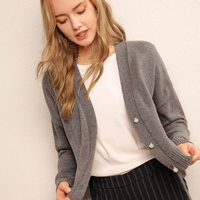 Litvriyh cashmere knitted sweater women cardigan sexy V neck long sleeve cardigan women sweater short style knitted top jumper