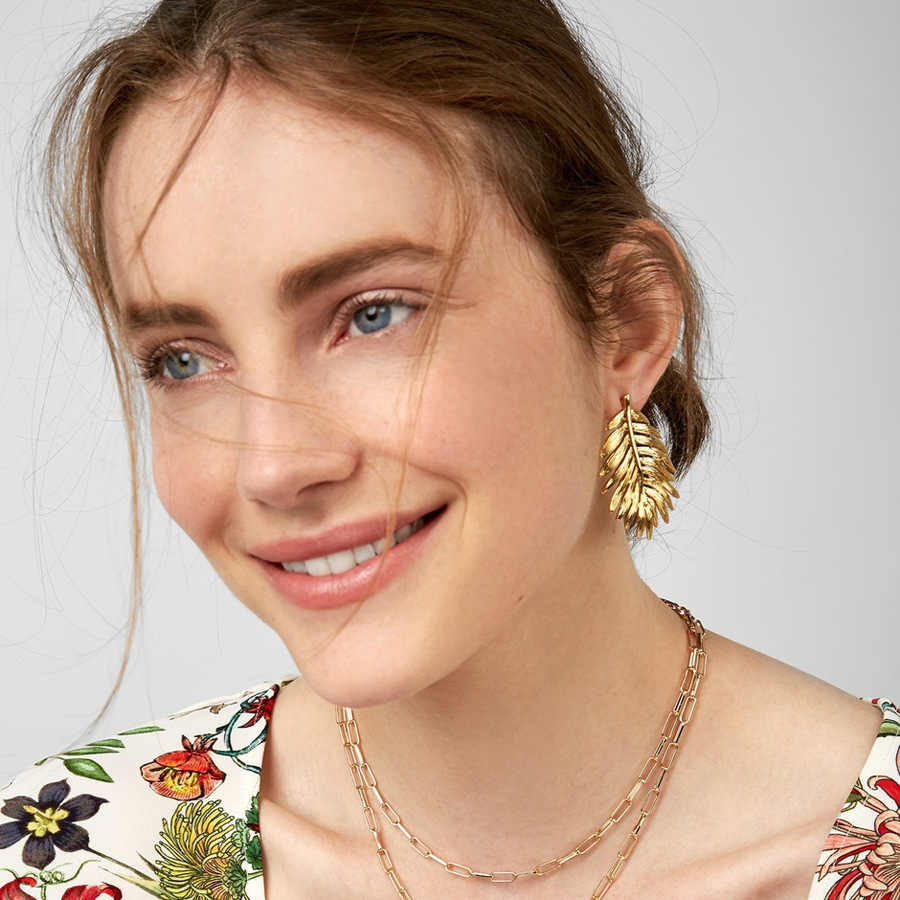 2019 Punk Gold Silver Leaves Earring for Women Bohemia Leaf Statement Stud Earring New Fashion ZA Jewelry Accessorie