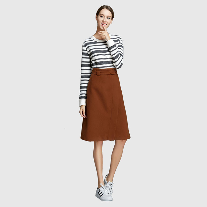 21069a1f1 Φ_ΦPrimavera otoño mujeres lana falda delgada del a-line color ...