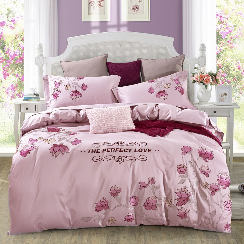 Luxury Cotton Embroidered Floral Bedding Set Queen Size King Size Duvet Covers Bed Sheets Pillowcase Beautiful Textile SetsLuxury Cotton Embroidered Floral Bedding Set Queen Size King Size Duvet Covers Bed Sheets Pillowcase Beautiful Textile Sets