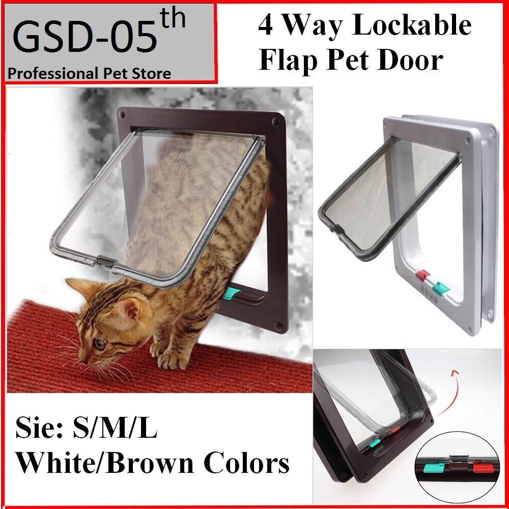Pet Dog Cat Door Small Pet Animal 4 Way Magnetic Lockable Door Kitty safe Flap Gate S/M/L Coffee White