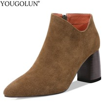 Cow Suede High Heel Ankle Boots Women Genuine Autumn Lady Shoes A224 Woman Black Nude Army Green Yellow Pointed Toe Ankle Boots недорого