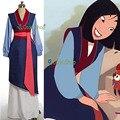2016 princesa mulan cosplay por encargo azul dress girls clothes traje de navidad anime traje uniforme para las mujeres niños