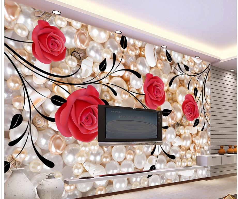 Home Decoration Pearl Rose custom 3d photo wallpaper 3d stereoscopic wallpaper window mural wallpaper custom photo wallpaper luxury 3d stereoscopic vase entrance corridor aisle backdrop wall decoration painting mural de parede 3d