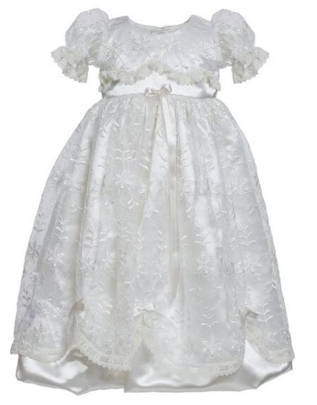 Graceful Handmade Infant Baptism Gown Baby Girl Christening Dress White/Ivory Lace Robe 0-24month 2016 baby infant baptism gown baby girl christening dress white ivory lace applique robe 0 24month