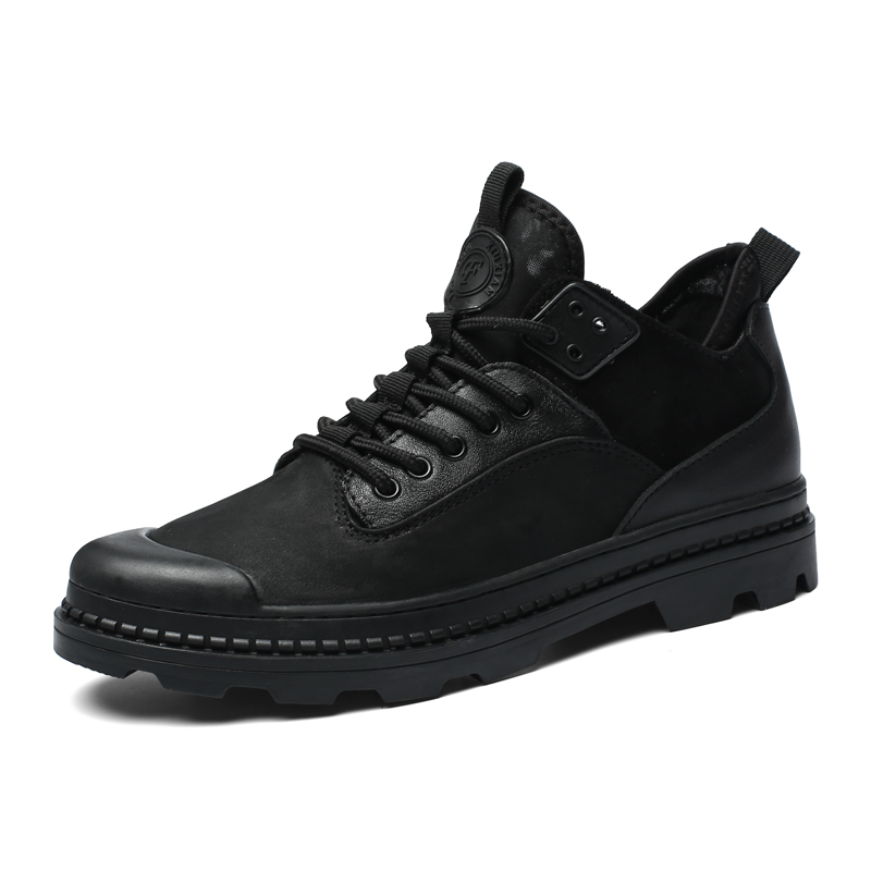 2018 Super Winter Casual Shoes Men Genuine Leather handmade Short Bootie non slip Male boots warm winter mens sneakers man black