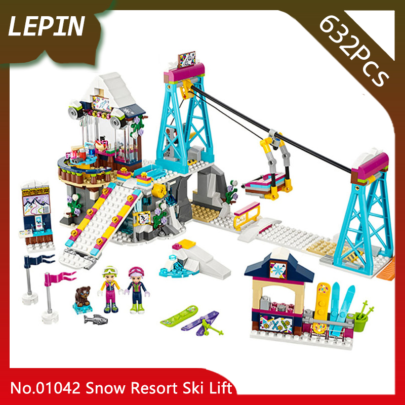 Lepin 01042 632pcs Friends Series Snow Resort Ski Lift Model Building Bricks Blocks Educational Toys for Children gifts 41324 lepin 01040 friends girl series 514pcs building blocks toys snow resort chalet kids bricks toy girl gifts lepin bricks 41323