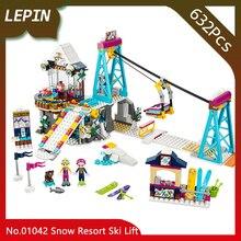 Lepin 01042 632 pcs Amigos Séries Resort de Esqui de Neve Elevador Modelo de Construção Tijolos Blocos Brinquedos Educativos para Crianças presentes 41324