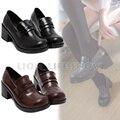 Universal Mujeres Japonés Uniforme Escolar Estudiante JK Bloque Zapatos de Tacón Alto de Cuero para Cosplay Uniforme
