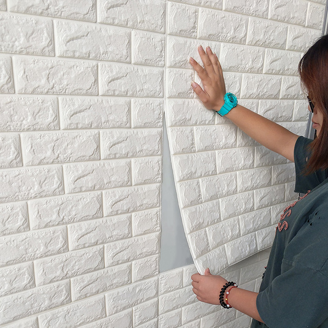 DIY Self Adhesive 3D Brick Wall Decals Living Room Decor Foam Waterproof  Wall Covering Paper TV