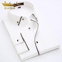 KIN DON Brand Men Tuxedo Shirts Golden Edge Design Long Sleeve Dress Shirt For Men High
