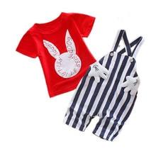 Childrens wear Summer  fashion bib cartoon set 2 pieces 1-3 years old children clothes