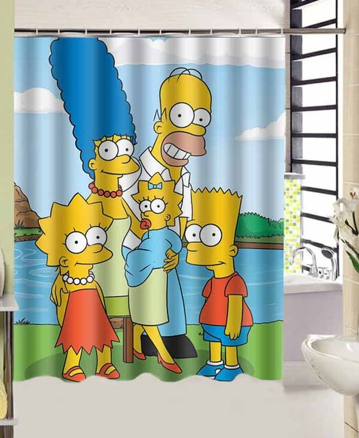 The Funny Cartoon Simpsons Family Photos Bath Curtain Decors 180x156 CM High Quality Waterproof Shower