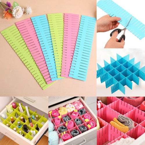 4pcs/lot Adjustable Drawer Organizer Board Storage Boxes Home Decor wardrobe Brief Clothes Boxs Divider