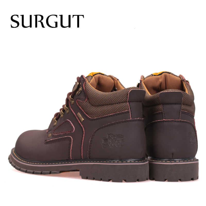 Мужские водонепроциаемые кожаные ботинки SURGUT, очень теплые ботильоны с резиновой подошвой для снега, обувь большого размера в английском ретро стиле для зимы, 2019