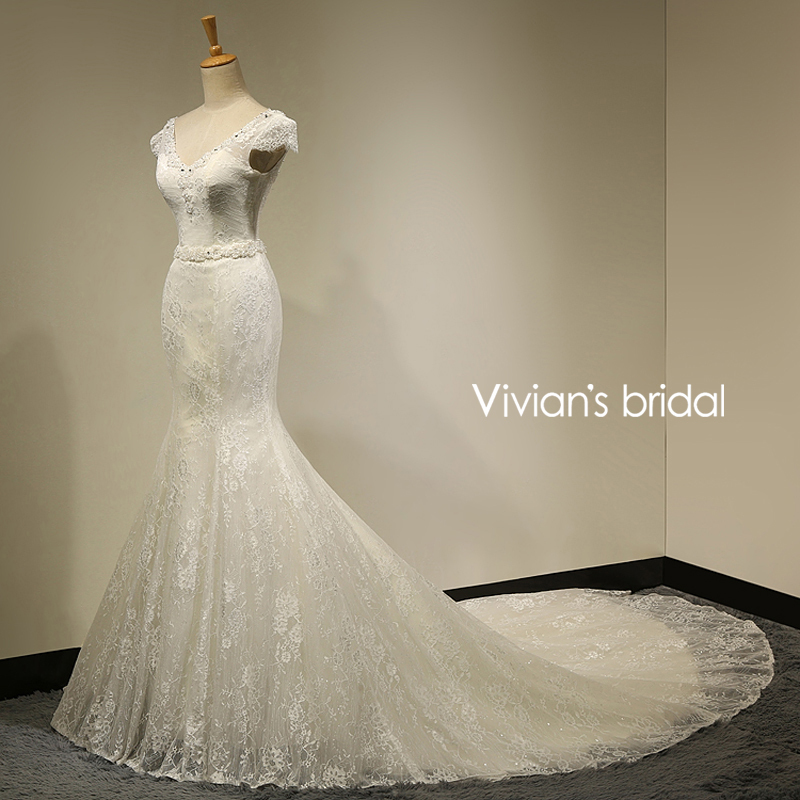 Vivian s Bridal Real Photo Sexy Lace Mermaid Wedding Dress 2016 Bride Dress Gowns robe de
