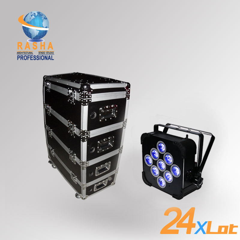 Hot 24X Lot Rasha 9pcs*12W 4in1 RGBW/RGBA Battery Powered Wifi LED Flat Par Can With Stackable Charging Road Case/Fan Cooling