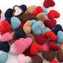 Mix Colors 20mm 20PC Corduroy Heart Shape Kids Clothes Covered Button Flatback Cabochon DIY Decoration Buttons Scrapbooking DIY(China)