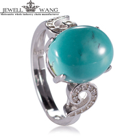 JEWELLWANG Real Blue Turquoise Ring For Women Natural Gemstone Genuine Solid 925 Sterling Silver Women Fine