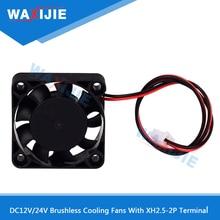 10Pcs 4010 Cooler Fan DC12/24V Brushless Cooling Fans With 2 Wires XH2.5-2P Plug 40*40*10mm 3D Printer Part Mute Cooler Radiator new original dv6224 2 24v original plug inverter fan 55kw 75 90kw