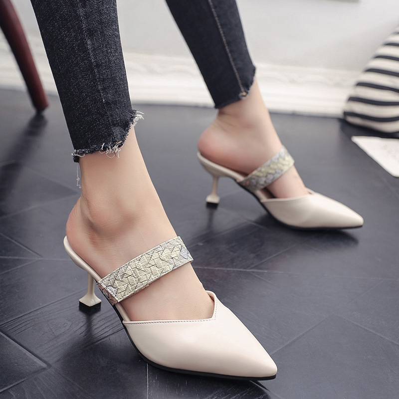 Women 39 s Slippers 2019 Summer New Fashion High Heel Pointed Patent Leather Fashion Rivet Casual Slippers Women in Slippers from Shoes