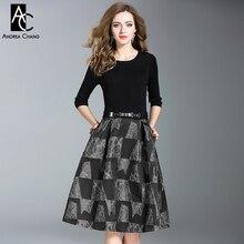 На осень-зиму женщина платье черный вязаный Топ с рукавами 3/4 серый красный геометрический узор лоскутное платье с поясом выше колена XXL платье