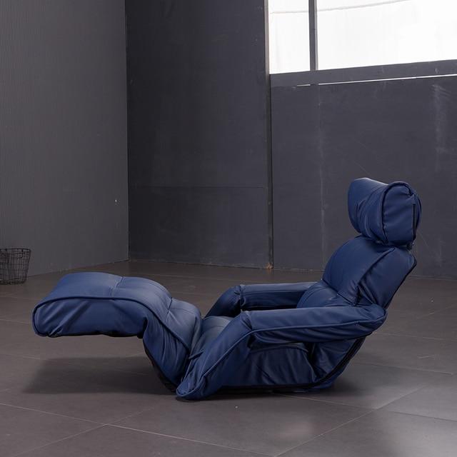 boden leder sofa stuhl multifunktionale liege mit armlehne wohnzimmer mbel faltbare einstellbare chaiselongue leder - Wohnzimmer Liege Leder