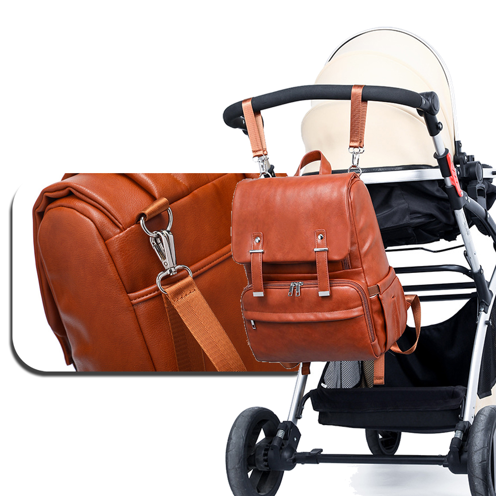 PU Leather Baby Diaper Bag Backpack+Changing Pad+Stroller Straps
