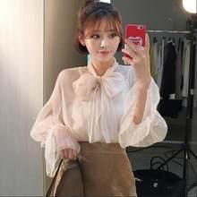 61942b791d7 2018 Весна-осень Женщины блузка see through галстук-бабочка сетки белый  Кружевные рубашки корейский элегантный милый сладкий жен.