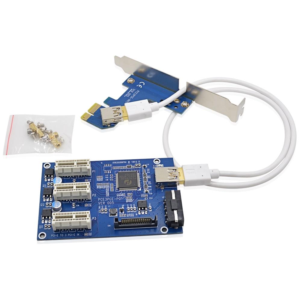 bilder für 10 stücke VER005 PCI-E zu 3 PCI-E 1X Slot Riser Card ITX zu externe 3 PCIe Slot Adapter Multiplier Karte + Schwarz 60 CM USB 3.0 kabel