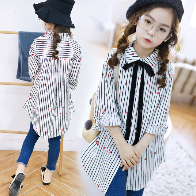 95d073e6f 2018 teenage girls long blouse fashion children clothing for school costume  princess 10 12 years old spring autumn