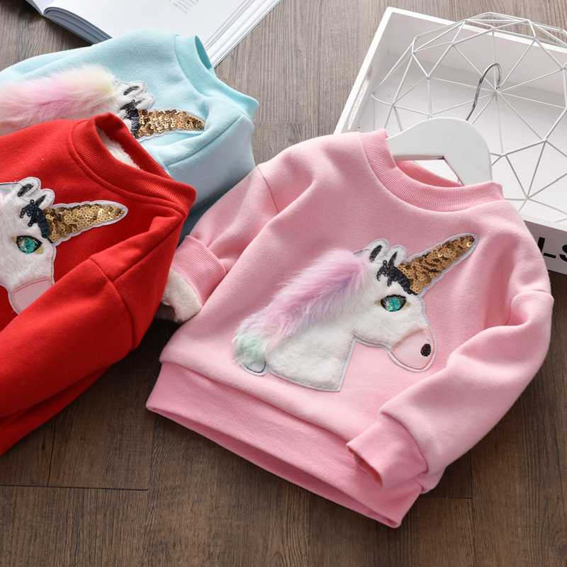 c5f339a4b BibiCola Girl Winter Unicorn Sweater Fashion Cartoon Children Plus ...