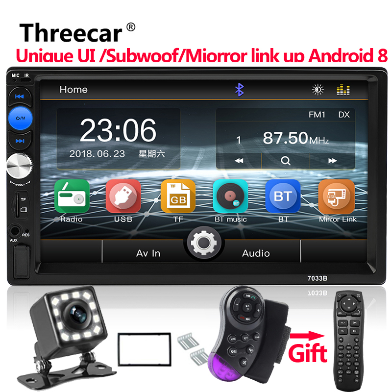 Supports mirror link Android 8.0 car radio 2 din 7 inch MP5 player Bluetooth hands free FM/TF/USB rear view camera mp5 car radio new 7 inch 2din bluetooth car radio video mp5 player auto radio fm 18 channel hd 1080p in dash remote control rear view camera