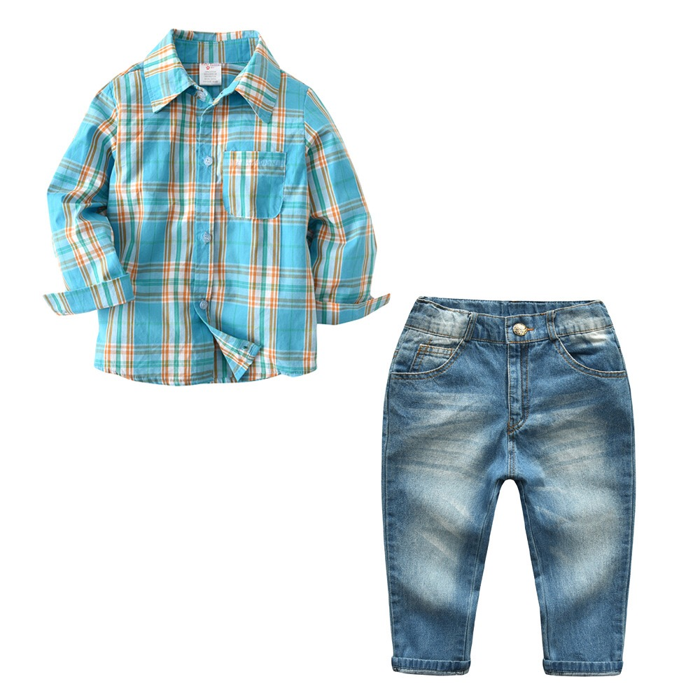 High Quality Spring Autumn Boys Clothes Sets Cotton Plaid Shirt+Jeans 2Pcs Gentleman Suit Children Clothing Costume For Kids