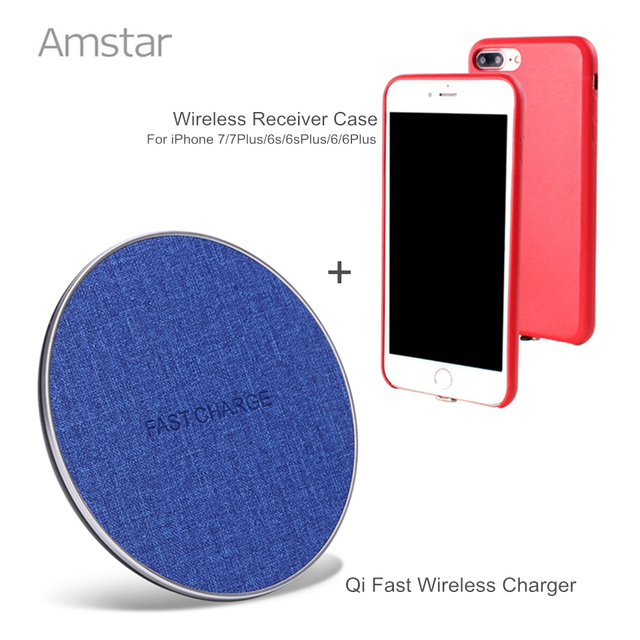 new concept 11929 9d31a US $39.99 |Amstar Qi Wireless Charger 10W Fast Charge Wireless Charging Pad  + Wireless Receiver Case for iphone 7 7Plus 6s 6sPlus 6 6Plus-in Mobile ...