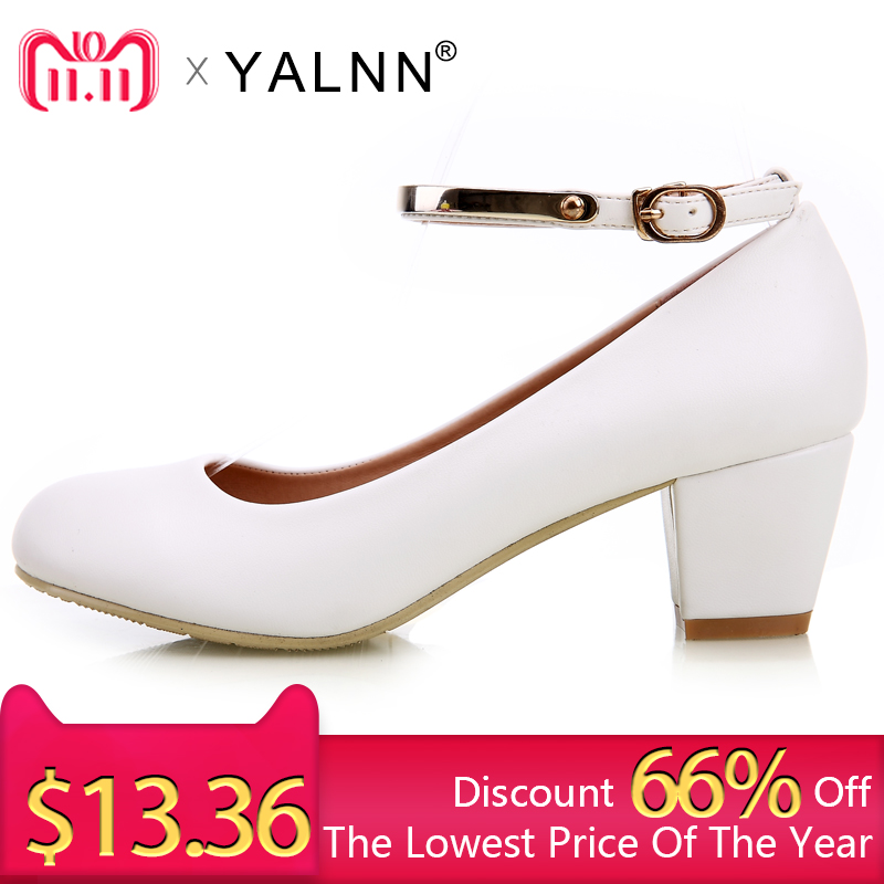 YALNN New Women's High Heels Pumps Sexy Bride Party Thick Heel Round Toe leather High Heel Shoes for office lady Women new women s high heels pumps sexy bride party thick heel round toe genuine leather high heel shoes for office lady women t8802