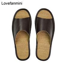 Pantoufles en cuir véritable pour couple dintérieur, antidérapantes, chaussures pour la maison, décontracté, semelles souples, TPR, printemps et été 510m