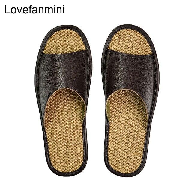 정품 암소 가죽 슬리퍼 커플 실내 미끄럼 방지 남성 여성 홈 패션 캐주얼 싱글 신발 TPR 소프트 솔 봄 여름 510m