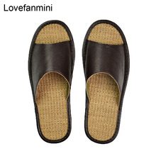 Zapatillas antideslizantes de cuero de vaca genuino para hombre y mujer, zapatos informales a la moda de hogar, suelas blandas TPR para primavera y verano, 510m