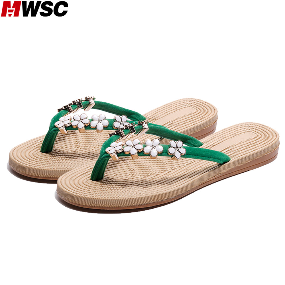 MWSC 2018 Summer New Hot Sale Women Casual Slippers Flat with Female Floral Flip Flops Ladies Fashion Beach Shoes