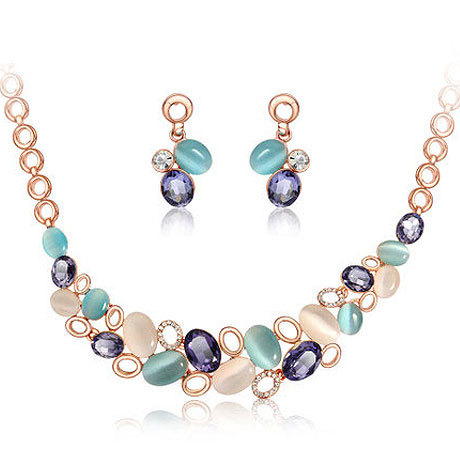 SHUANGR Fashion Jewelry Sets Gold Color Chain Elegant Austria Crystal Necklace Earrings Sets Wedding Costume Jewellery