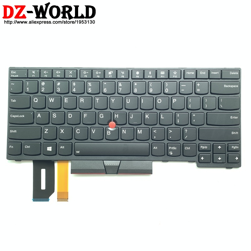 US English Backlit Keyboard For Lenovo Thinkpad E480 E490 T480S L480 L380 Yoga T490 T495 L390 Yoga L490 P43s Teclado 01YP280-in Replacement Keyboards from Computer & Office    1