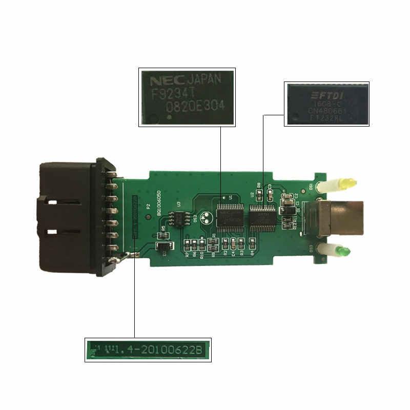 Novo para bmw scanner 1.4.0 ftdi chip obd obdii interface de diagnóstico usb multi-função versão de desbloqueio 1.4 frete grátis